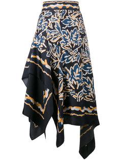 асимметричная юбка в стиле шелкового платка Peter Pilotto