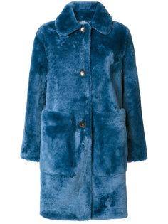 пальто на пуговицах с драпировкой  Desa Collection