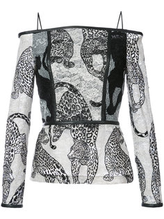 блузка с открытыми плечами и вышитыми леопардами  Yigal Azrouel