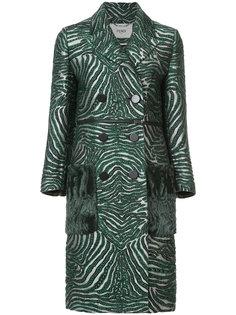 двубортное пальто с зебровым узором Fendi