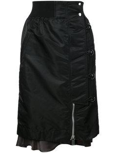 атласная юбка со сборками Sacai