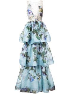 платье в пол с цветочным мотивом Marchesa