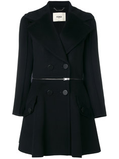 пальто с молнией на поясе Fendi