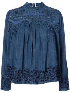 джинсовая блузка с вышивкой Needle & Thread