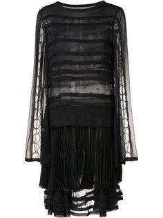 плиссированное платье с прозрачными панелями Jason Wu