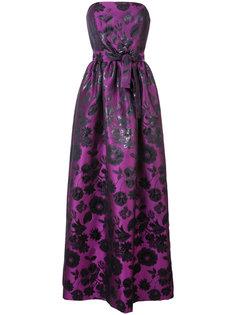 блестящее жаккардовое платье Floral Carolina Herrera