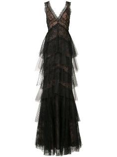 ярусное кружевное платье с цветочным узором  Marchesa Notte