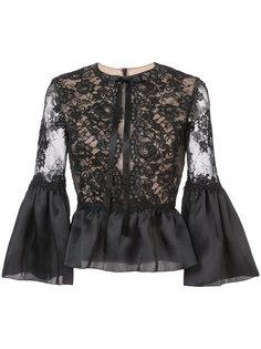 кружевная блузка с баской и оборками Marchesa