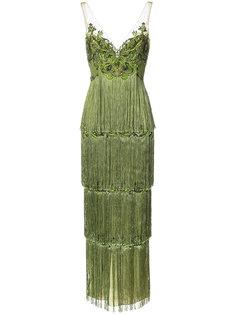 платье с вышивкой и кисточками  Marchesa Notte