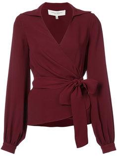 блузка без воротника с завязкой сбоку  Carolina Herrera