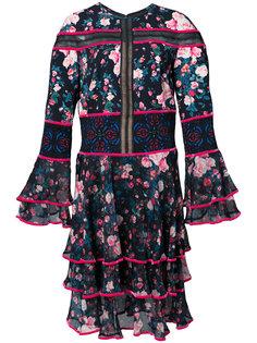платье с оборками и цветочным принтом Tadashi Shoji