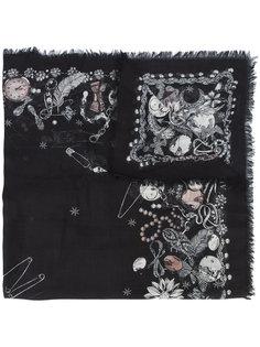 шарф с вышивкой Alexander McQueen