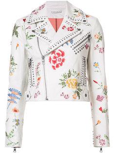 байкерская куртка с цветочной вышивкой Alice+Olivia