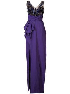 платье со складками и отделкой  Marchesa Notte