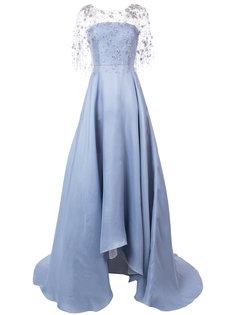 декорированное расклешенное вечернее платье Marchesa