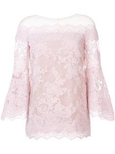 расклешенная кружевная блузка с открытыми плечами Marchesa