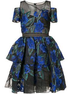 ярусное платье с цветочной вышивкой  Marchesa Notte