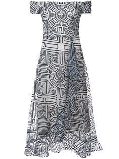 платье с принтом и открытыми плечами Nicole Miller