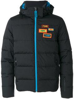 куртка-бомбер с капюшоном и аппликацией Fendi