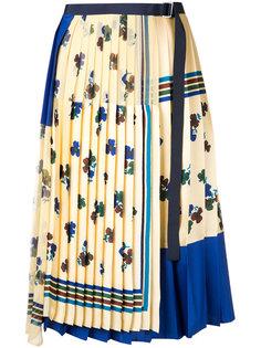 плиссированная юбка с запахом  Sacai