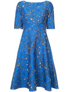 жаккардовое расклешенное платье с цветочным узором Lela Rose