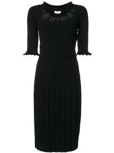 приталенное платье с цветами у ворота Fendi
