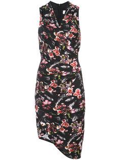 асимметричное платье с запахом и цветочным узором Nicole Miller