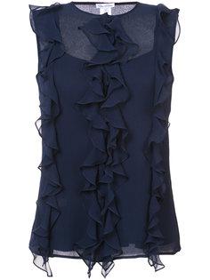 блузка с оборками без рукавов Oscar de la Renta