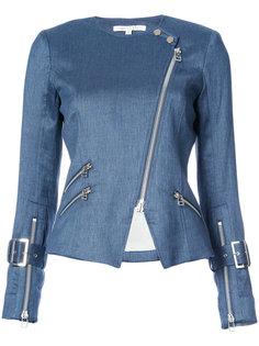 джинсовая байкерская куртка на молнии Veronica Beard