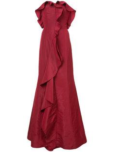 расклешенное вечернее платье с оборками Oscar de la Renta
