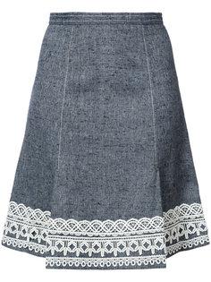 юбка А-образного силуэта с отделкой на подоле Oscar de la Renta