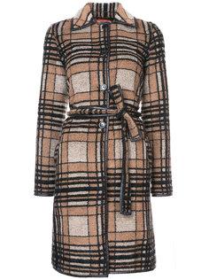 пальто в клетку с поясом Missoni