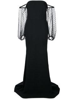 платье в пол с прозрачными рукавами Greta Constantine