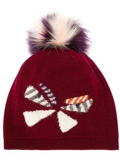 вязаная шапка с помпоном и бабочкой Fendi