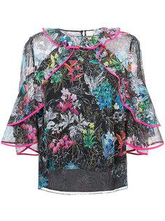 блузка с цветочным узором и оборками Peter Pilotto