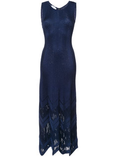 длинное платье в елочку Oscar de la Renta
