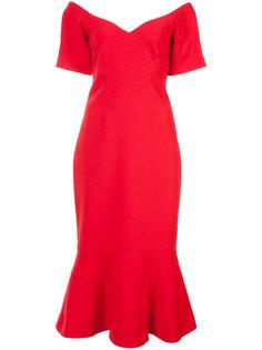 приталенное расклешенное платье с открытыми плечами Cinq A Sept
