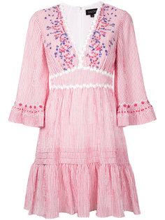 платье с V-образным вырезом и вышивкой  Saloni
