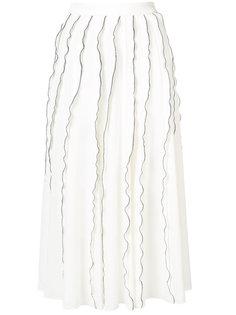 юбка с плиссировкой и контрастной окантовкой Derek Lam