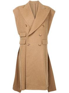 свободное пальто без рукавов  R13