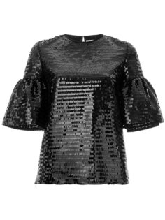 puffed sleeve sequin top Huishan Zhang