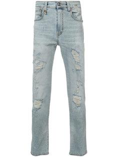 джинсы скинни с рваными деталями R13