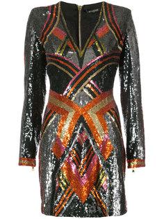 мини-платье с глубоким вырезом Balmain
