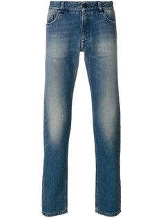 выбеленные джинсы с вышивкой Fendi