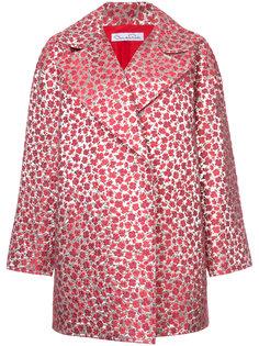 пальто с цветочным узором и приспущенными плечами Oscar de la Renta