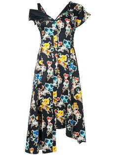 асимметричное платье миди с цветочным принтом Jason Wu
