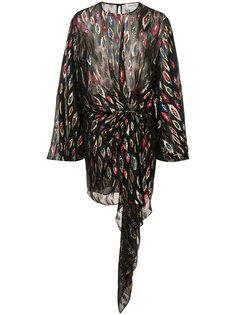 платье со сборками на талии Saint Laurent