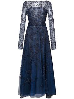 расклешенное декорированное вечернее платье Oscar de la Renta