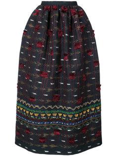 юбка с вышивкой и кисточками Oscar de la Renta
