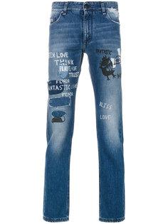 джинсы кроя скинни с потертой отделкой Fendi